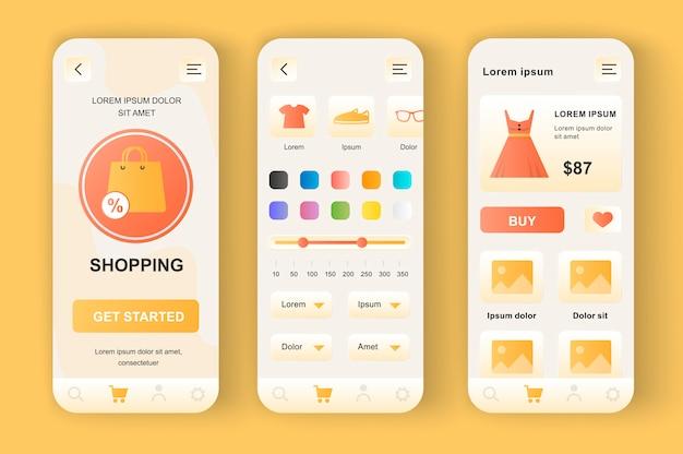 독특한 신형 키트 쇼핑. 구매 검색, 색상 선택, 할인 비율이있는 의류 매장 용 앱. 인터넷 시장 ui, ux 템플릿 세트. 반응 형 모바일 애플리케이션을위한 gui.