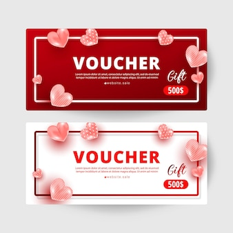 Shopping voucher gift cards template set with realistic sweet love shape decor and 500 dollar numbers. discount card coupon. happy valentine day concept, vector illustration