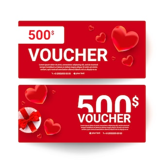 Shopping voucher gift cards template set with realistic sweet love shape decor and 500 dollar numbers.