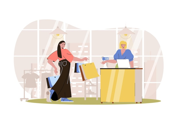 Shopping web concept woman with bags pays for her purchases at checkout customer buys
