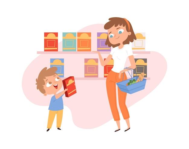 子供と一緒に買い物。食料品店の母息子。ショップバスケットを持つ女性、男の子のコーンフレークボックス。食品市場の漫画の家族、かわいい顧客のベクトルイラスト。母と息子が食料品で食べ物を選ぶ