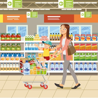 Shopping with family cartoon vector concept