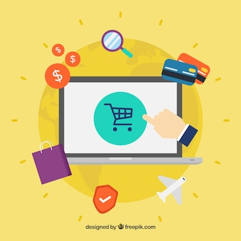Shopping with laptop in flat design