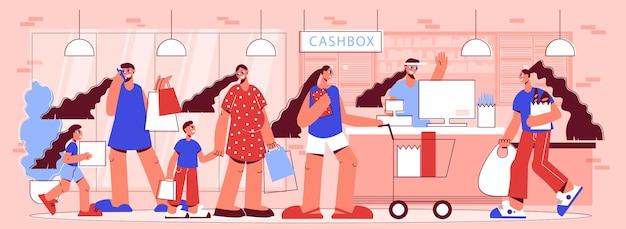 Покупки с линией ожидания людей иллюстрации