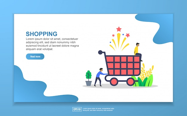 Shopping with tiny people character landing page