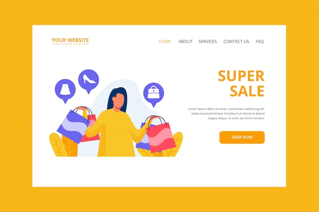 Shopping woman landing page