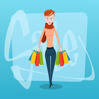 Shopping woman with bags sale