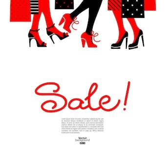 ショッピングの女性。美しい女の子のシルエットのセールデザイン