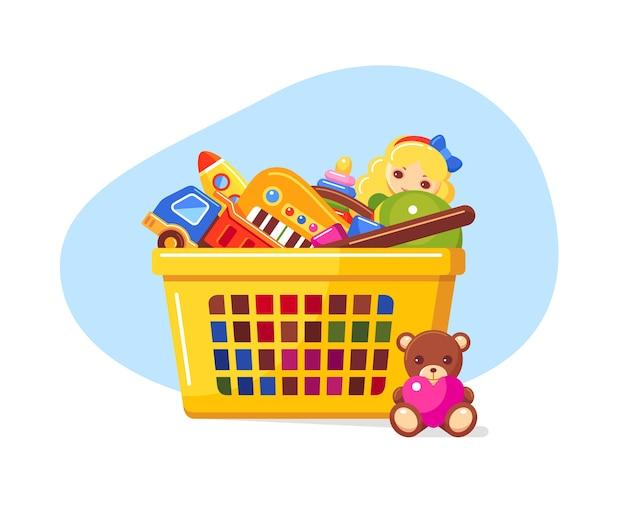 Желтая корзина для покупок, полная детских игрушек