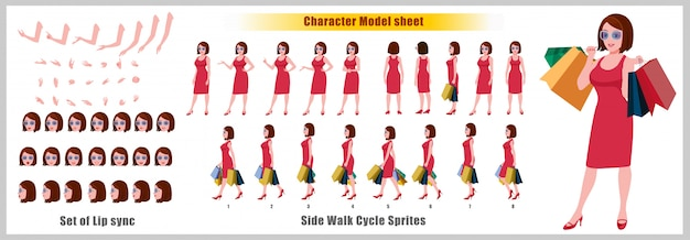 Shopping young girl character model sheet with walk cycle animations and lip syncing