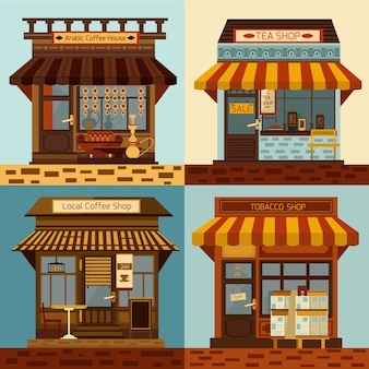 Shops and local mini stores facades set