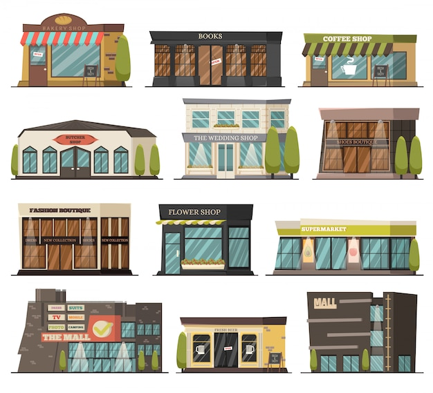 Shops orthogonal icons set