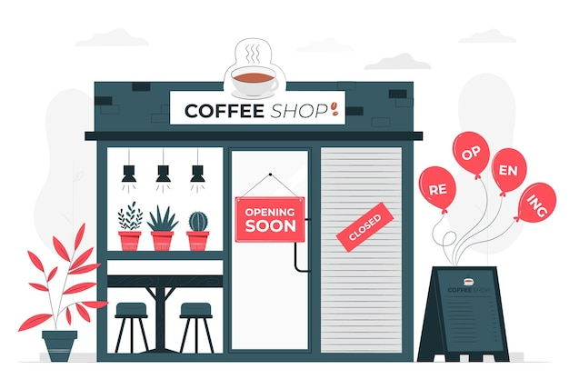 Shops re-opening soon concept illustration