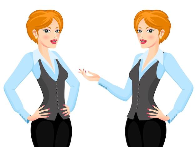 白い背景で隔離のビジネス提案を作る短い髪のビジネス女性