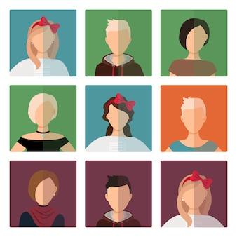 Short hairstyles female avatar set