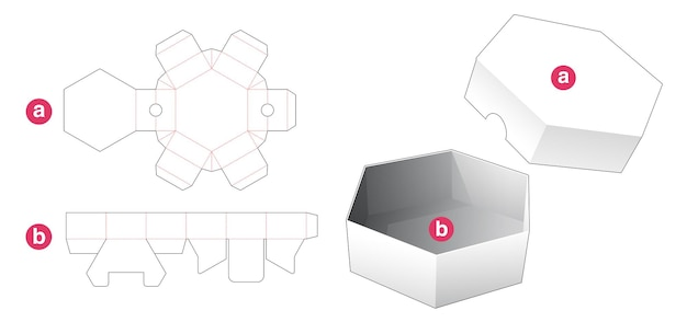 Short hexagonal shaped box and lid die cut template