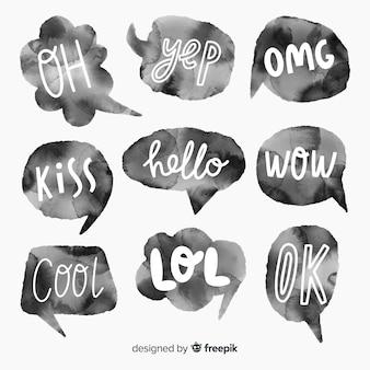 Short messages on watercolour chat bubbles