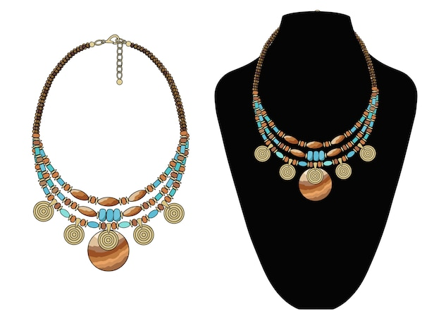 Short necklace made of natural stones with pendants.