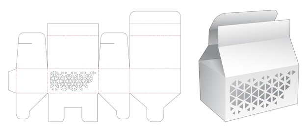 스텐실 삼각형 다이 컷 템플릿이있는 짧은 포장 상자