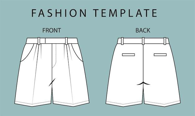 ショートパンツの正面図と背面図。ショートパンツファッションフラットスケッチテンプレート。