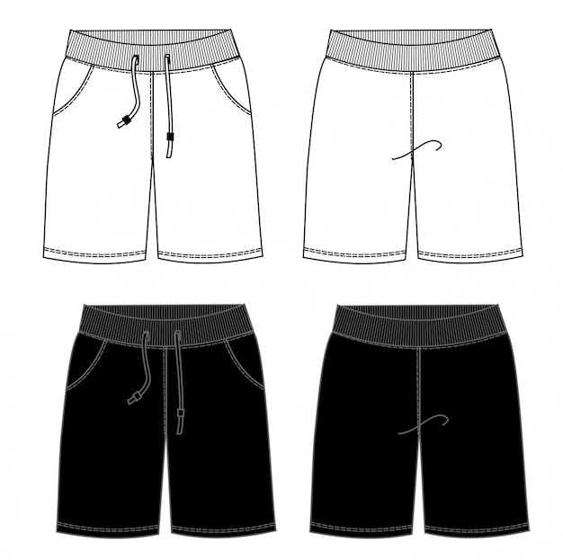 Short pantfashion flat sketch template