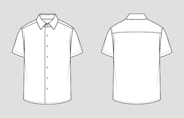Short sleeved men's shirt. relaxed fit. vector illustration. flat technical drawing. mockup template.