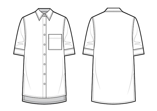 半袖ユニセックスシャツ。ベクトルイラスト。