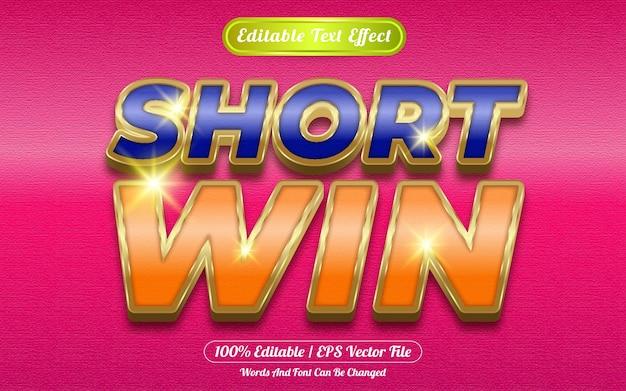 Short win editable text effect golden themed