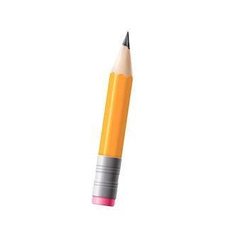 Короткий желтый полуиспользованный школьный карандаш с шаблоном ластика