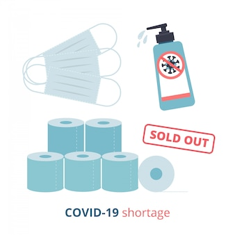 Shortage phenomenon due to covid19 outbreak. coronavirus pandemic and shocked upset. set of facial mask, sanitizer gel and toilet paper sold out. lack of essentials.  flat illustration.