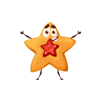 Shortbread star cookie character. crunchy dessert food cute vector personage with smiling face, sweet snack cookie with red jam filling happy isolated character standing with outstretched hands
