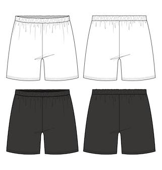 Shorts pants fashion flat technical drawing template