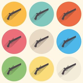 散弾銃のアイコンのイラスト。クリエイティブでレトロなイメージ