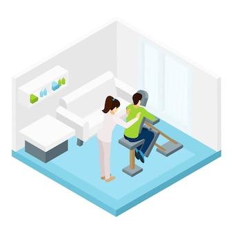 Shoulders massage isometric illustration