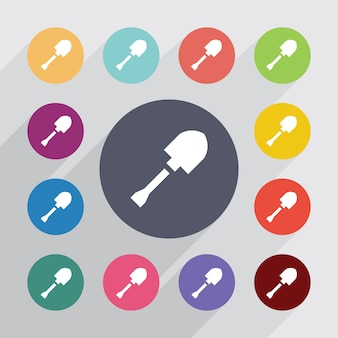 Shovel circle, flat icons set. round colourful buttons. vector
