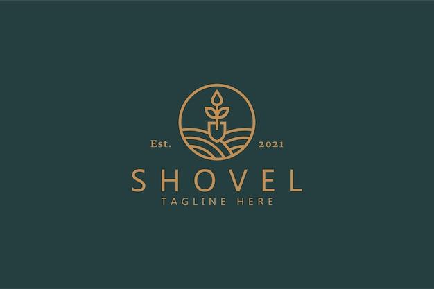 シャベルナチュラルリーフのロゴ。プレミアムバッジのブランドアイデンティティデザインテンプレート。