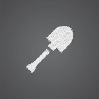 어두운 배경에 고립 된 삽 스케치 로고 낙서 아이콘