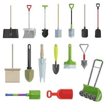 Shovel vector gardening icons set
