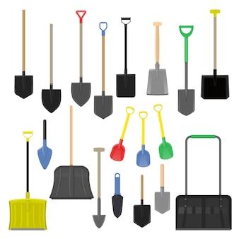 Shovel vector gardening shoveling equipment spade object of agriculture work