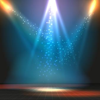 Mostra o sfondo vettoriale di pista da ballo con faretti. illustrazione di festa o concerto, palco e pavimento
