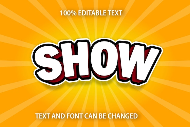 Show editable text effect comic style
