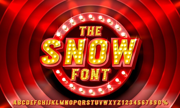 Show font set collection letters and numbers symbol vector