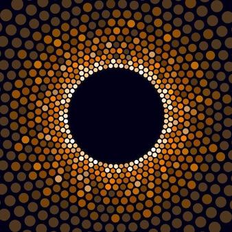 明るい円の金色の背景を表示します。ベクトルイラスト
