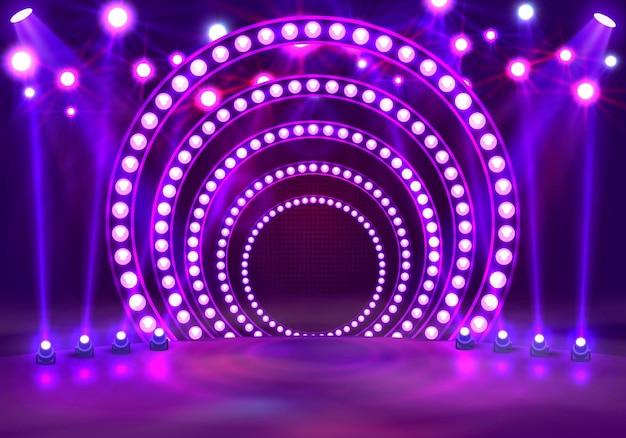 Покажите светлый подиум фиолетовый фон. векторная иллюстрация