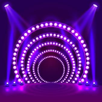 明るい表彰台の紫色の背景を表示します。ベクトルイラスト