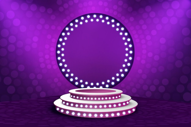 Show light podium purple background.