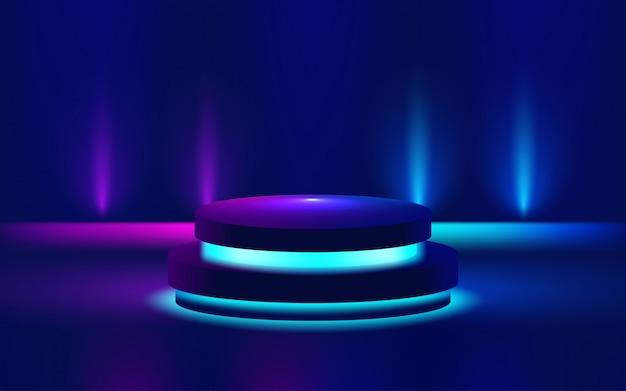 明るい表彰台の紫色の図を表示