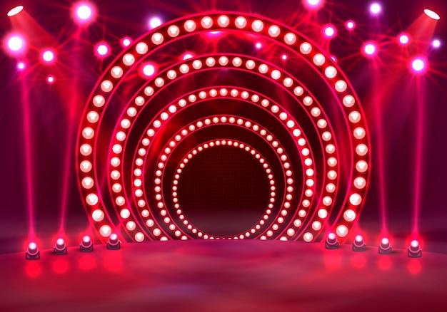 Покажите светлый подиум красный фон. векторная иллюстрация