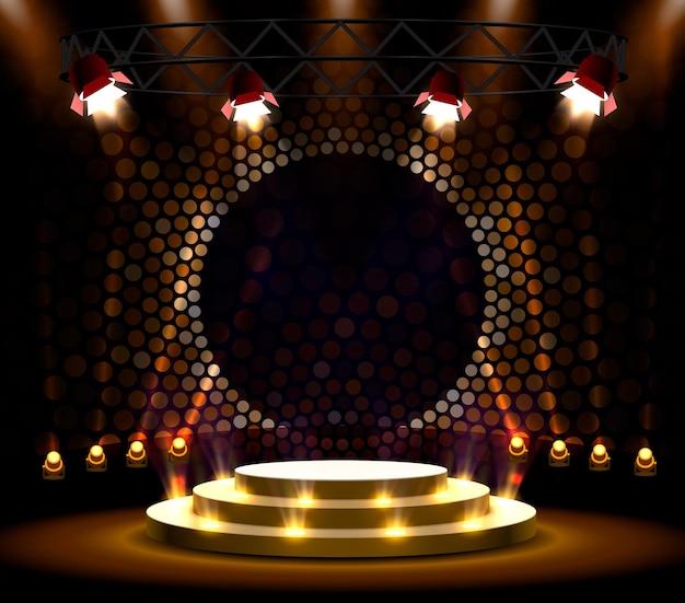 Покажите светлый фон звезд подиума. векторная иллюстрация