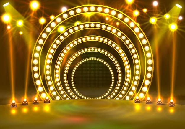 Покажите светлый подиум на желтом фоне. векторная иллюстрация